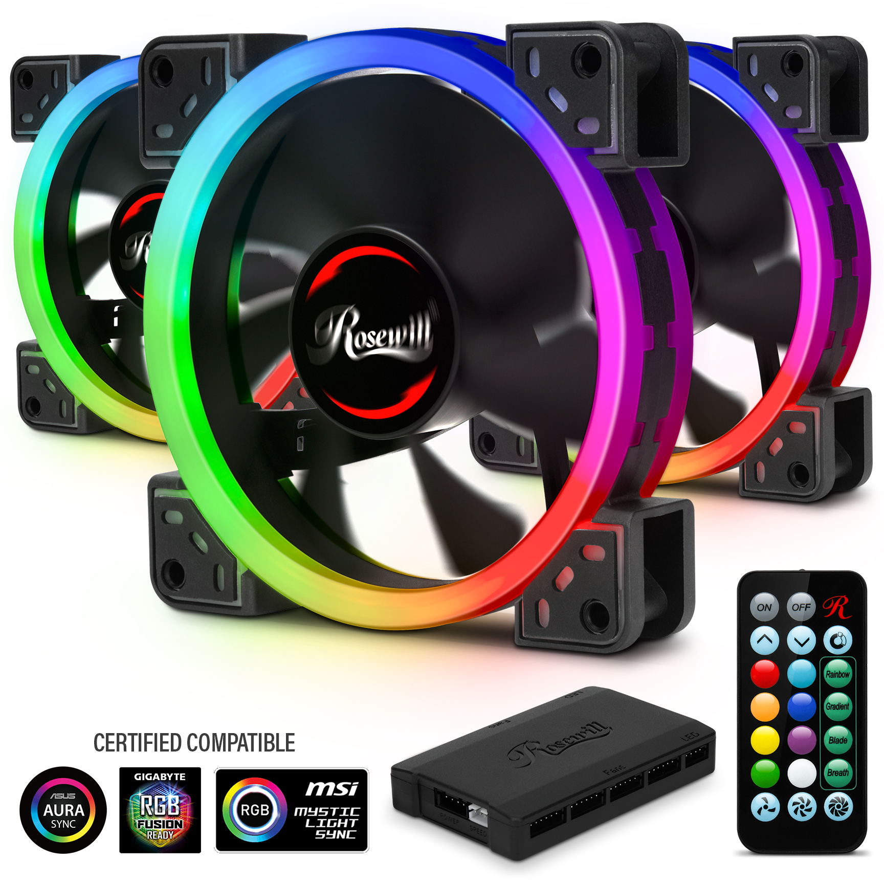 RGBF-S12001 Dual Ring Addressable RGB Set - Rosewill